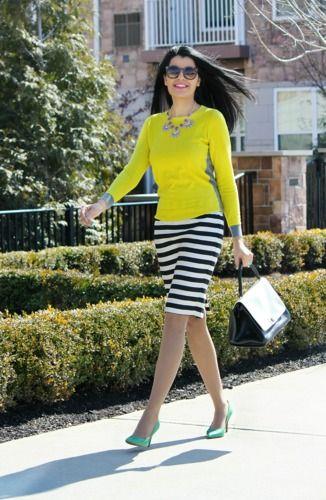 no me gustan las rayas horizontales de la falda pero si la gama de colores del conjunto