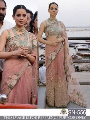 Indian Bollywood Saree Multi Color Chiffon Designer Embroidery Saree Blouse SS