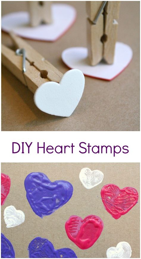 DIY Heart Stamp Art is part of Preschool crafts Valentines - Use basic craft supplies to make your own DIY heart stamps for toddler and preschool art for Valentine's Day or kids' crafts Preschool Art Projects, Valentine's Day Crafts For Kids, Valentine Crafts For Kids, Easy Art Projects, Valentines Day Activities, Preschool Crafts, Projects For Kids, Holiday Crafts, Preschool Painting