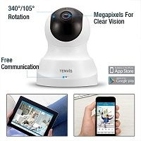 TENVIS HD IP Camera Wireless IP Camera w// Two-way Audio Night Vision White 1080p