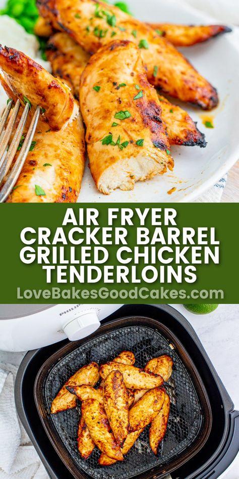 Air Fryer Cracker Barrel Chicken Tenderloins tastes just like the real deal! Using an air fryer helps keep them super moist - and so good!