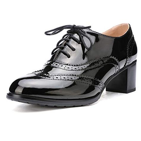 Odema Womens PU Leather Oxfords Wingtip Lace up Mid Heel Pumps Shoes …