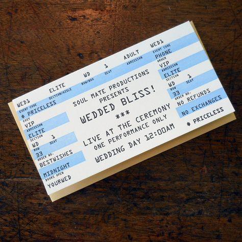 Letterpress wedding rock concert ticket greeting card wedded bliss - concert ticket invitations