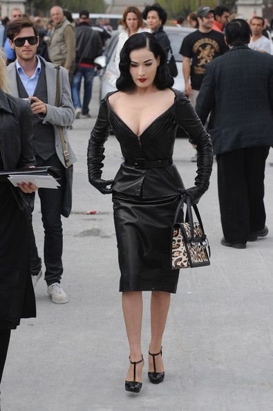 Dita Von Teese Dons Domina Leather at Dior: Photo Dita Von Teese sits front row at the Christian Dior show as part of Paris Womenswear Fashion Week Spring/Summer 2010 on Friday (October in Paris, France.