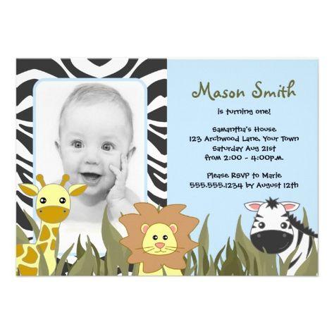 Cute Jungle Animal Photo Birthday Blue Personalized Invites