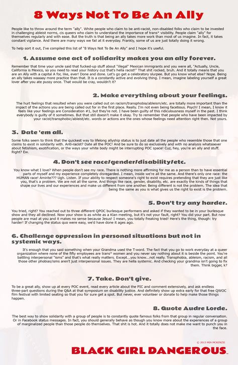 8 Ways Not to be an Ally poster, by Mia McKenzie at Black Girl - fmla form