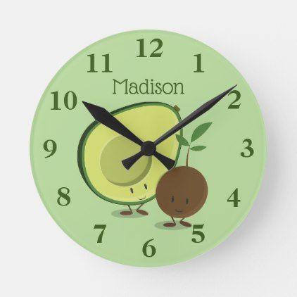Smiling Avocado And Pit Cartoon Characters Name Round Clock Zazzle Com Cartoon Characters Names Clock Character Names