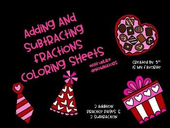 Adding And Subtracting Fractions Coloring Sheets Adding