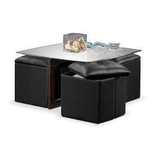 Neera Coffee Table W Four Ottomans Black Dining