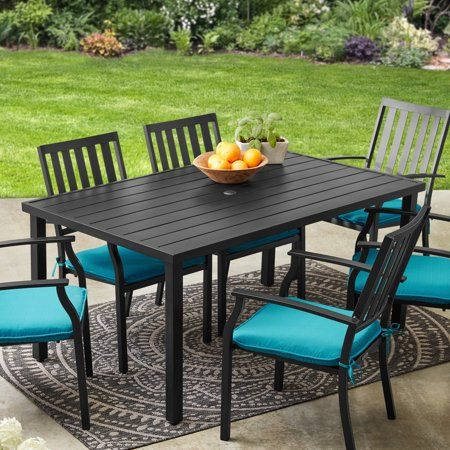 Better Homes Gardens Outdoor 6 Person Black Rectangular Milport Dining Table 62x38 Steel Frame Walmart Com In 2020 Patio Dining Table Patio Dining Metal Dining Table
