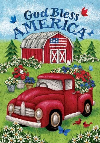 4th of July Garden flag America Fireworks Patriotic Red Antique Pick up Truck