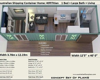 2 Bedroom Shipping Container House Plans 2 Bed Container Etsy Container House Shipping Container Home Designs Container House Design