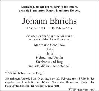 Traueranzeige Von Johann Ehrichs Traueranzeigen Trauer Trauerspruche