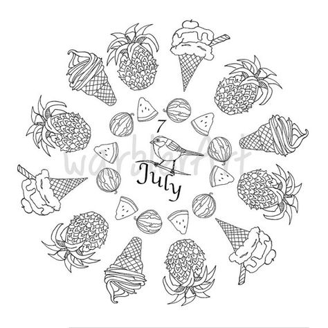 Summer Coloring Page 2016 Calendar Coloring Page Adult Coloring