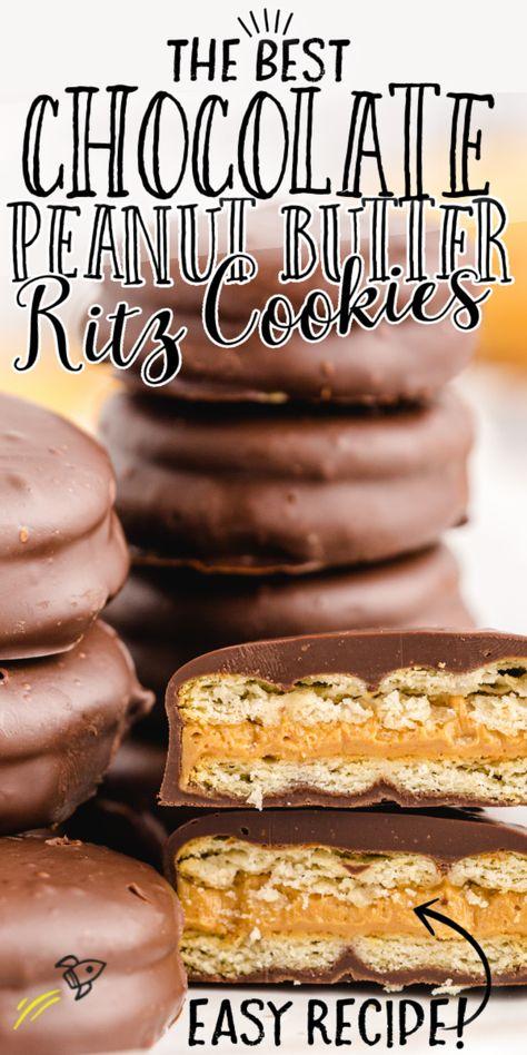 Peanut Butter Crackers, Chocolate Peanut Butter Cookies, Peanut Butter Recipes, Chocolate Covered Ritz Crackers Recipe, Desserts With Peanut Butter, Peanut Butter Sandwich Cookies, Making Peanut Butter, Peanut Butter Candy, Easy Peanut Butter Cookies