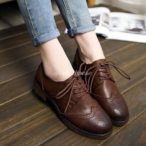 40bfc160166 Girls Womens Oxford Brogues British Retro College Lace Up Low Heel Wingtip  Shoes in Clothing