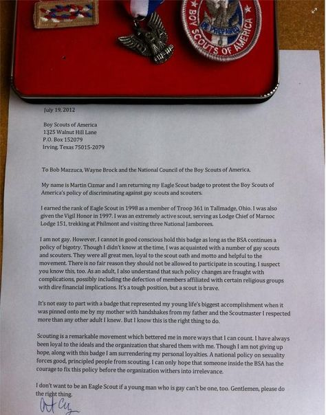 An Eagle Scoutu0027s Letter to Boy Scouts of America on why he canu0027t - eagle scout letter of recommendation