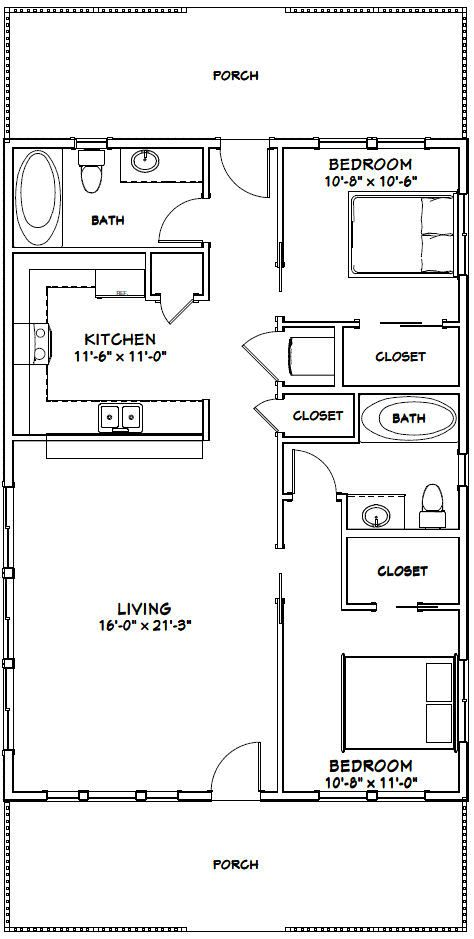 28x40 House 28x40h1a 1 120 Sq Ft Excellent Floor Plans Tiny House Floor Plans Small House Floor Plans Floor Plans