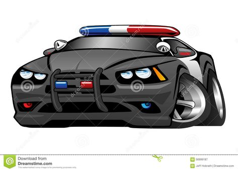 A Policia Muscle A Ilustracao Dos Desenhos Animados Do Carro