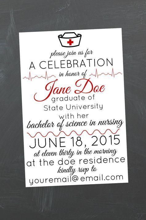 photo relating to Nurse Graduation Invitations Printable named Printable Nursing Higher education Commencement Celebration Invitation