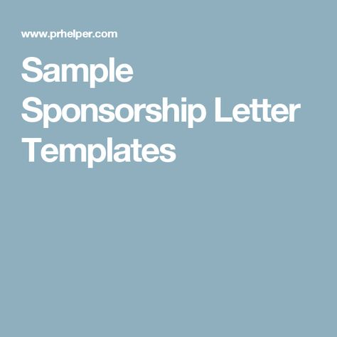 Sponsorship Proposal Template auction ideas Pinterest - proposal format for sponsorship of event