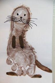 DIY Footprint otter craft for kids (Do unto otters book activity) sooo cute