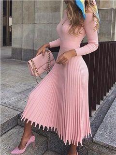 Mid-Calf Pleated Plain Long Sleeve Women's Dress 16733566 - Bodycon Party Dresses - Dresswe.Com