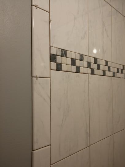 Carrera ceramic tile and carrera mosaic trim marble tiles