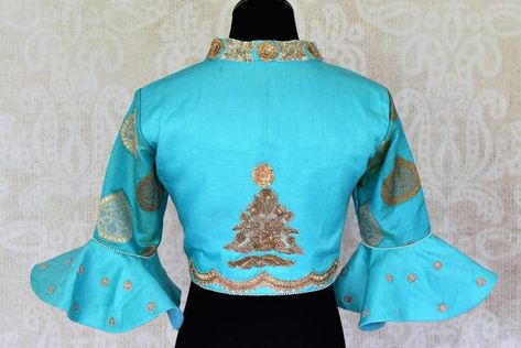 79a1c263d690a Modern yet ethnic turquoise blue embroidered silk saree blouse with bell  sleeves is sure to add charm to your saree look. Shop online at Pure  Elegance or ...