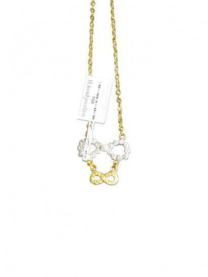 سلسله ذهب عيار 18 سلسلة انفينتى مرصعة بالفصوص وترد بالفصوص Necklace Chain Jewelry