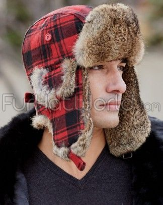 5b7488de7 Buffalo Check Rabbit Fur Aviator Hat for Men in 2019 | Fur hats ...
