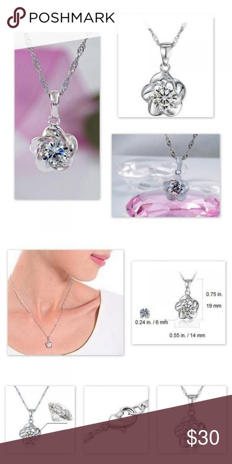 Silver necklace w/Swarovski crystal element Rose design with lovely clear crystal.  Very classy.  Perfect with Jean's and a t-shirt or LBD! Silver necklace is 16