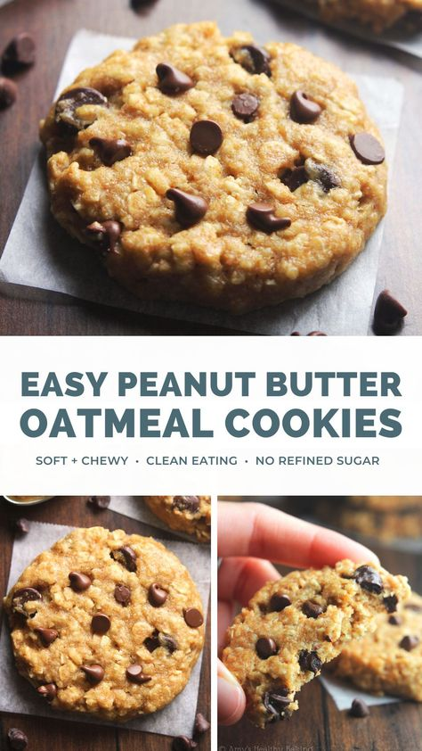 These are the BEST chocolate chip peanut butter oatmeal cookies! They're soft, chewy & easy to make. Nobody can ever tell they're healthy! Yet these peanut butter oatmeal cookies are clean eating & made with NO refined sugar. A true cookie miracle — SO yummy & good!! #cleaneating #peanutbutter #oatmealcookies #healthyrecipes