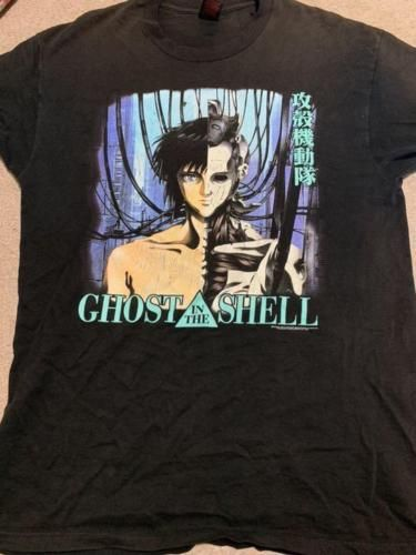 Ghost In The Shell T Shirt Men Black Anime Comic Japan Manga 90 S Large Vintage Ghost In The Shell Anime Comics Shirt Print Design