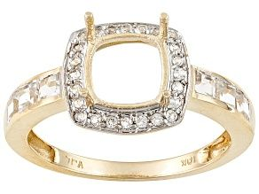 10kt Yg 7mm Cushion W 56ctw Round And Square White Topaz Accents Halo Style Semi Mount Ring Halo Style White Topaz Topaz