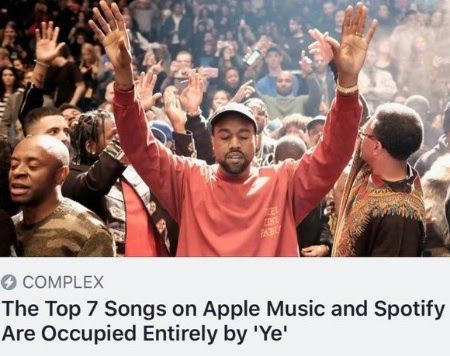 Kanye West S Ye Occupies Top 7 Songs On Apple Music Spotify Rapper Kanye West S New Album Entitled Ye Is Gradually Entertainme Songs Kanye West Kanye