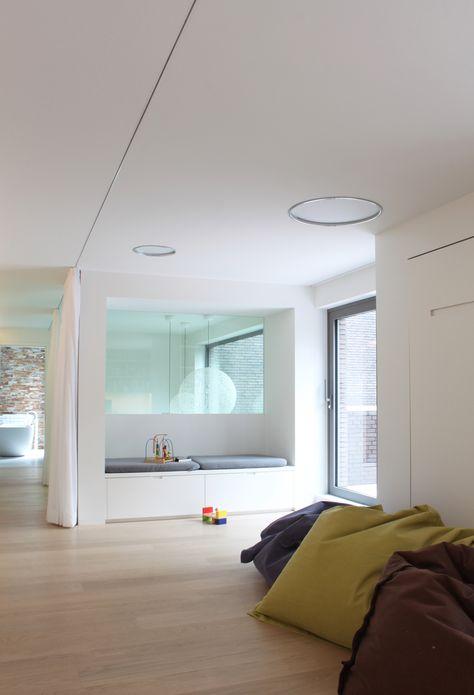 studio k - inrichten buiten- en binnenruimte Brasschaat 2012 (interior, interieur, parket, opklapbaar bed, multifunctionele ruimte, gordijn, curtain, speelruimte, play)