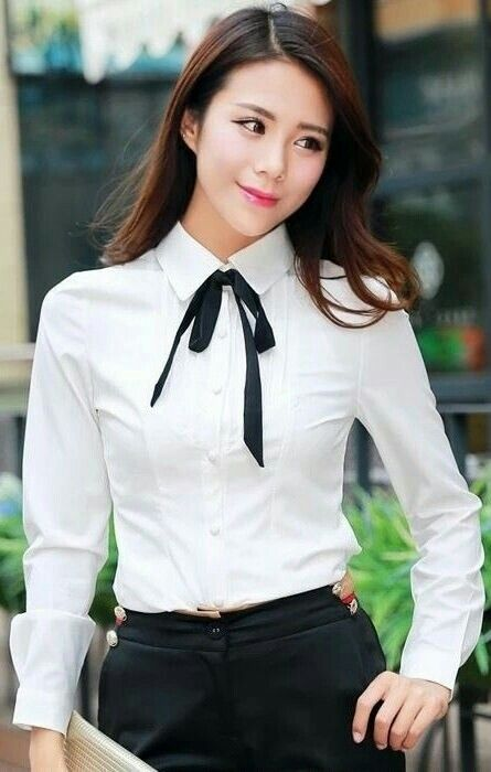18d04315bb4 Pin by Magik Dragon on Buttoned Up Ladies | White shirt outfits ...