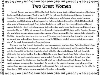 Free Harriet Tubman Rosa Parks Reading Passage Comparing