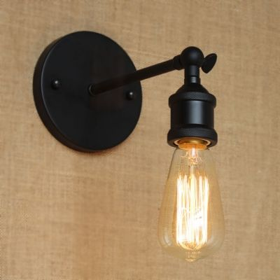 Single Bulb Suspender Wall Sconce In Black Finish For Bedside