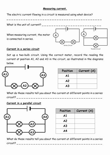 Series And Parallel Circuits Worksheet Lovely Current Voltage And Resistance In Cir Writing Algebraic Expressions Series And Parallel Circuits Circuits Science