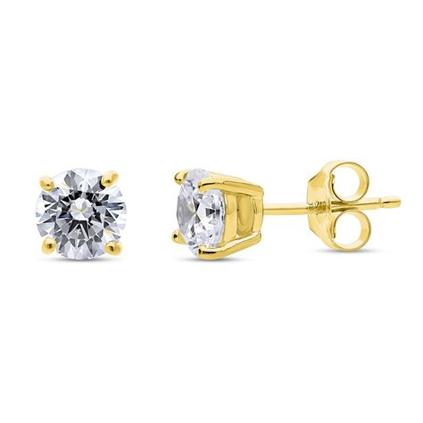 9ct Gold CZ stud Square Earrings Made in UK Gift Boxed studs