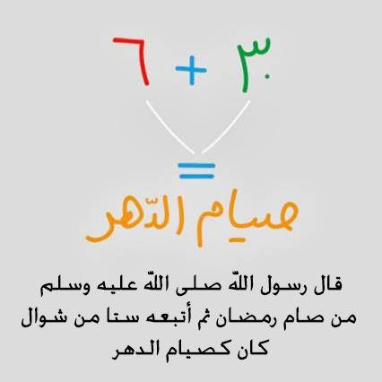 قال رسول الله صلى الله عليه وسلم من صام رمضان ثم أتبعه ستا من شوال كان كصيام الدهر رواه مسلم Chart Islam