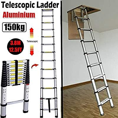 Amazon Com 3 8m 12 5ft Aluminum Telescoping Collapsible Roof Climbing Ladder For Home Loft Attic Ladder En131 Home K In 2020 Attic Ladder Telescopic Ladder Ladder
