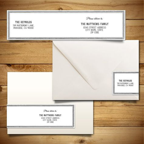 Printable Wrap-Around Address Label Template for A7 Envelopes - Grey & White - Instant Download - Editable MS Word Doc - Hyacinth Collection