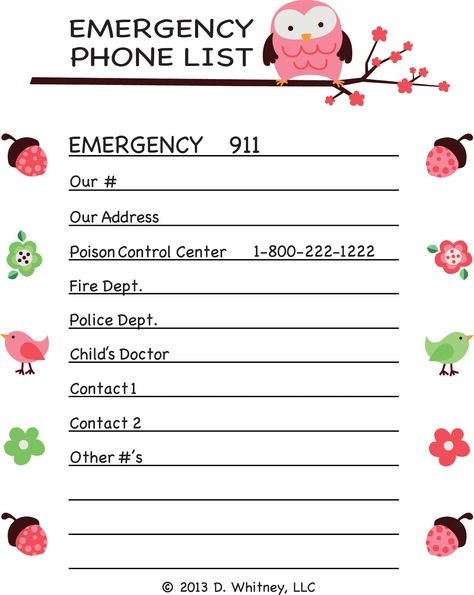 emergency phone list template for kids - Google Search | Ideas for ...
