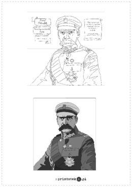 Józef Piłsudski Kolorowanka Xxl Materiał Zawiera 6 Kart