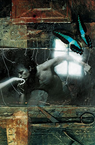 """Sandman #11 - """"My favourite of the early covers, made from manipulated photographs and small-scale collages. This piece was featured in the Society of Illustrators annual exhibition and a book of the best illustrations of the year. It was stolen from the gallery during the show"""" Dave McKean"""