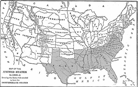 Confederate States Of America Map Pen And Paper Rifles - The confederate states us territories and united states map