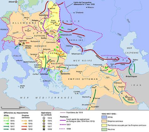 1914-18 : les fronts d'Europe et du Moyen-Orient (Source : Larousse)